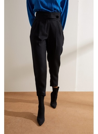 Setre Siyah Yüksek Bel Cepli Kumaş Pantolon Siyah